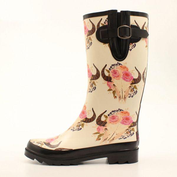 Rain Boots Damen Flower Skull