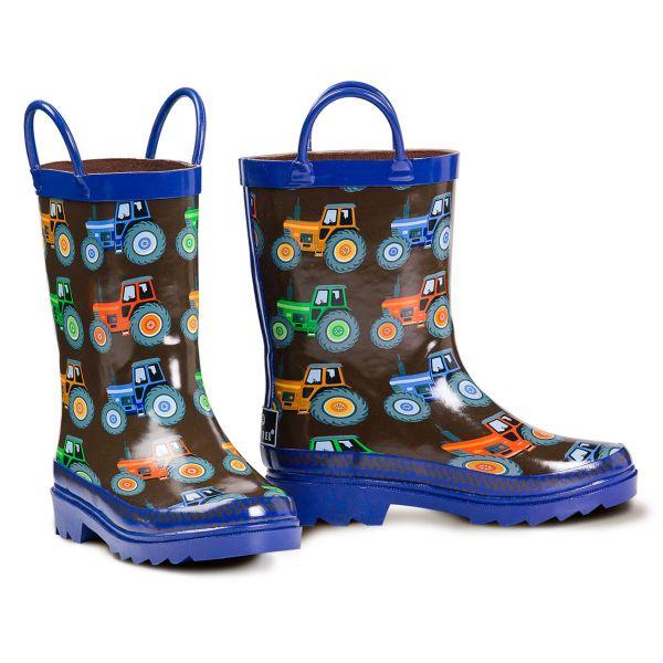 Rain Boots Boys Tractor Blue