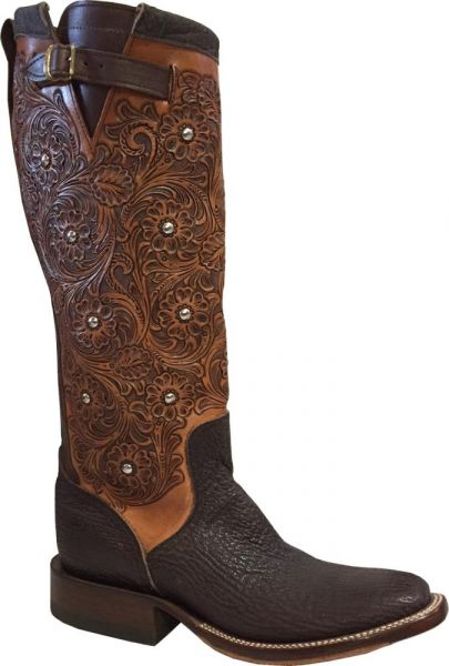 Shark Chocolate Handtooled Lady Rios Stiefel