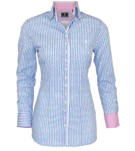 Fior da Liso Bluse Emma light blue stripe