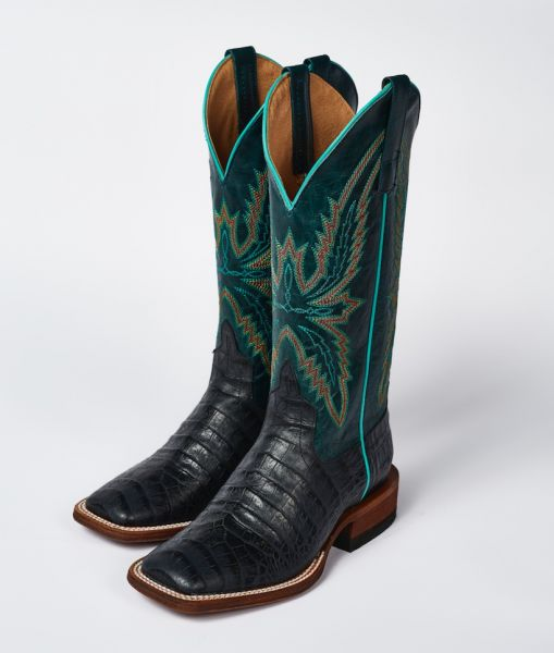Macie Bean Boots Black Caiman Belly - Navy Explosion
