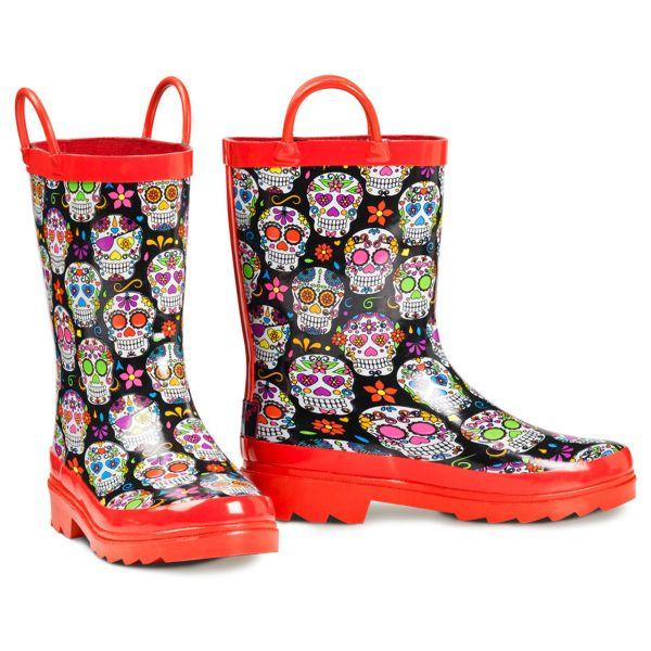 Rain Boots Girl Red Skull