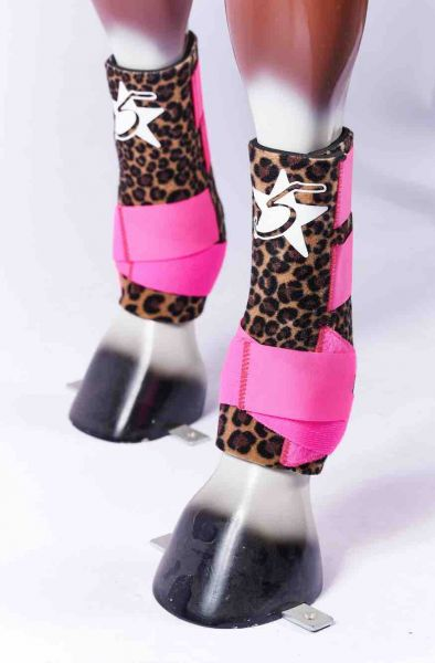 5 Star Boots - Cheetah Pink Straps